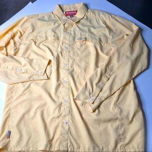 Simms Mens Gold L/S Size XL Vented Fishing Shirt